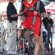 Steve Morabito gets ready to ride the time trial throughout downtown Los Angeles - Stock Photo