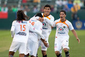 Jaguares offense celebrate after scoring during the InterLiga 2010 match — Stock Photo