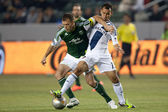Jack Jewsbury and Juninho in action during the Major League Soccer game — Stock Photo