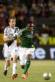 Mike Magee and Kalif Alhassan during the Major League Soccer game — Stock Photo