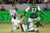 Juninho, Steve Purdy and Hanyer Mosquera in action during the Major League Soccer game — Stock Photo