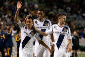 Juninho celebrates his goal with teammates during the Major League Soccer game — Stock Photo