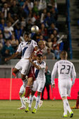 David Junior Lopes, Andrew Jacobson and Juninho during the Major League Soccer game — Zdjęcie stockowe