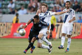 Bryan Gaul and Sercan Guvenisik in action during the Major League Soccer game — Stock Photo