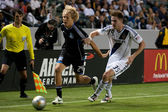 Bryan Gaul and Steven Lenhart in action during the Major League Soccer game — Stock Photo