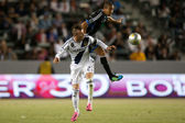 David Beckham and Justin Morrow in action during the Major League Soccer game — Stock Photo