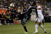 Simon Dawkins and Sean Franklin in action during the Major League Soccer game — Stock Photo