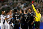 The Galaxy go down to 10 men after a red card was given during the Major League Soccer game — Stock Photo