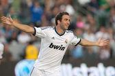 Gonzalo Higuain celebrates his goal during the World Football Challenge game — Stock Photo