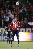 Dario Delgado looks to controll the ball during the game — Stock Photo