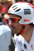 Fabian Cancellara gets ready to ride his time trial through out downtown Los Angeles — Stock Photo