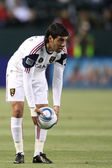 Javier Morales sets the ball up for a free kick during the game — Stock Photo