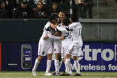 Real Salt Lake celebrate an 89th minute goal by Fabian Espindola during the game — Stock Photo