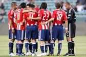 Chivas USA huddle before the start of the game — Stock Photo