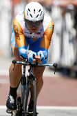 Robert Hunter rides the time trial throughout downtown Los Angeles — Stock Photo