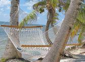 Lazy hammock on beach — Stock Photo