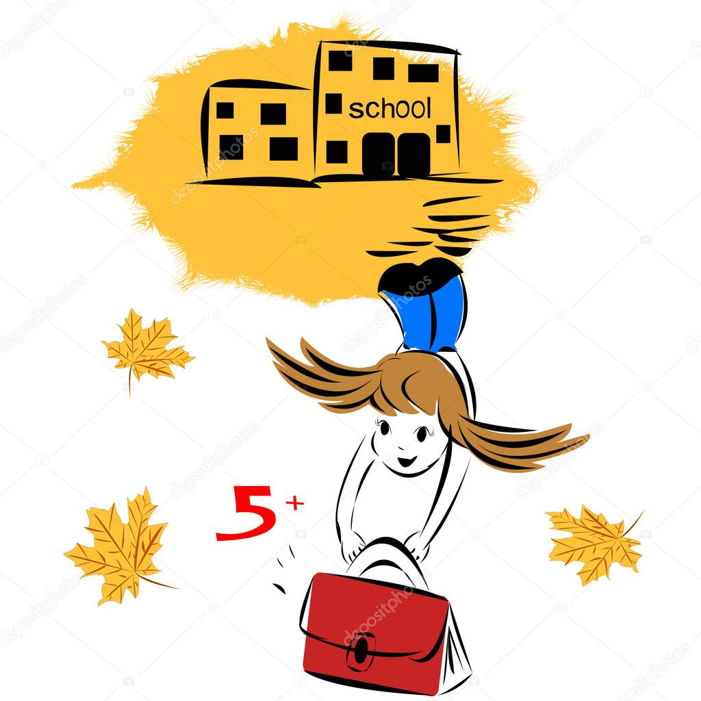 Illustration of girl and school days  Stock Vector #14025962
