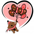 Stock Vector: Valentine bear with balloons