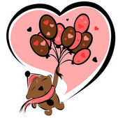 Valentine bear with balloons — Stock Vector