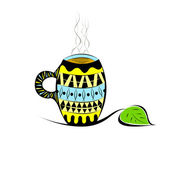 Cup in ethnic style with tea or coffee — Stock Vector