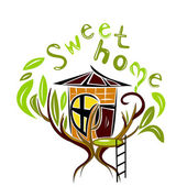 Sweet home on the tree — Stock Vector