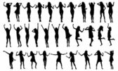 Dancing Girls Silhouettes. — Stock Vector