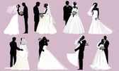 Bride and groom silhouettes — Stock Vector