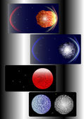 A set of the cosmic background - asteroid — Stock Vector