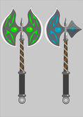 Dwa topory bojowe na białym tle — Wektor stockowy