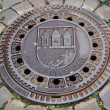 Stock Photo: Prague. Manhole on pedestristreet