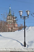 Lantern and Holy Cross Church. Irkutsk — Stock Photo
