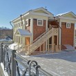 Two-story wooden house with a ladder  Irkutsk - Stock Photo