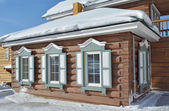 Wooden house with shutters and carving frames Irkutsk — Stock Photo