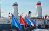 "Bridge with flags and entrance to icebreaker ""Angara"" — Photo"