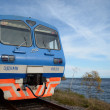 Baikal Railway. The car of tourist electric train at the station on the shore of Lake Baikal - Stock Photo