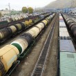 Railway freight trains at the station — Stock Photo