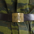 Stock Photo: Soldier's belt with buckle and Soviet star
