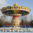Empty carousel in the park in winter. Krasnoyarsk - Zdjęcie stockowe