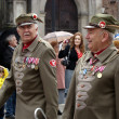 Men in the form of the Polish Army at the parade on the Independence Day of Poland. Krakow — Stock Photo #24851243