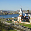 Epiphany church and Angara river in the city of Irkutsk — Stock Photo