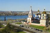 Epiphany church and Angara river in the city of Irkutsk — Stock Photo