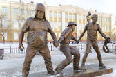 "A scene from the film ""Caucasian Captive"" - Coward, Experienced and Goony. Monument in Irkutsk — Stock Photo"