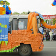 "Festively decorated car ""Happy Elephant"" on the parade in Irkutsk in honor of the City Day — Stock Photo"