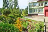 Szkoła kwitnący ogród latem. irkuck — Zdjęcie stockowe