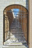 Reja del metal con una puerta abierta en la que conduce a las escaleras — Foto de Stock