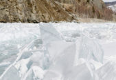 Frozen Lake Baikal. The ice ridges — Stock Photo