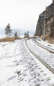 The part of Circum-Baikal Railway in winter — Stock Photo