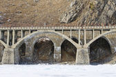 Viaduct on the section of Circum-Baikal Railway Old Angasolka village — Stock Photo