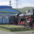 Memorial steam locomotive L-4046, the depot Sludyanka, Russia, Irkutsk region — Stock Photo #47863365