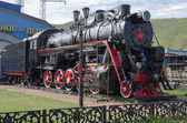 Memorial steam locomotive L-4046, the depot Sludyanka, Russia, Irkutsk region — Stock Photo